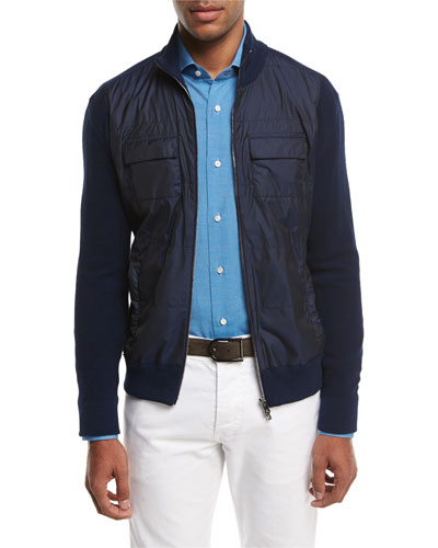 Cotton-Tech Hybrid Zip-Front Jacket, Navy