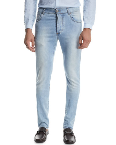 Dark Wash Straight-Leg Jeans, Blue