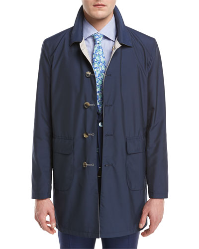 Reversible Single-Breasted Raincoat, Navy/Beige