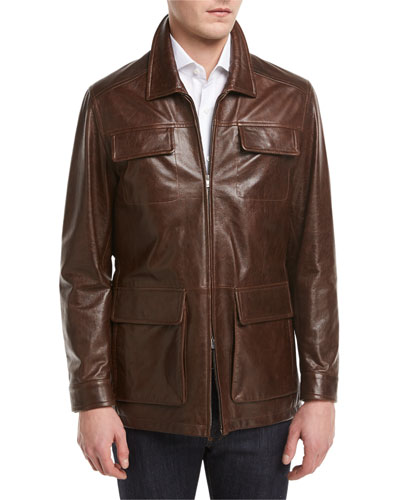 Vintage Lamb Leather Safari Jacket, Brown