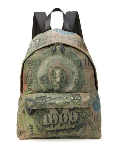 Men's Dollar-Print Canvas Backpack, Olive