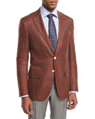 Sanita Plaid Two-Button Sport Coat, Rust/Blue