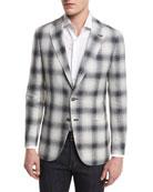 Ombré Plaid Two-Button Sport Coat, Crème/Black