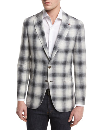 Ombré Plaid Two-Button Sport Coat, Crème/Black