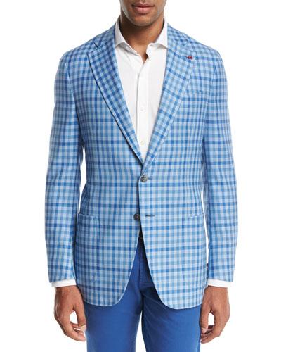 Domenico Gingham Two-Button Sport Coat, Light Blue/White