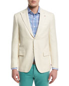 Textured Peak-Lapel Two-Button Blazer, Crème