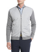 Patterson Full-Zip Hybrid Mélange Cardigan, Dark Gray