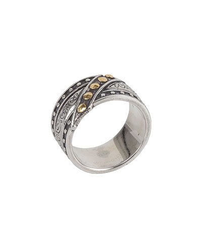 Men's Sterling Silver & 18K Gold Band Ring