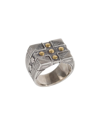 Men's Sterling Silver & 18K Gold Cross Signet Ring