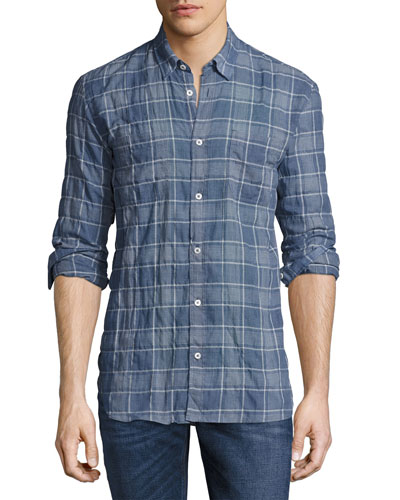 Randall Plaid Sport Shirt, Blue