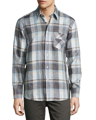 Walland Plaid Linen Sport Shirt, Blue