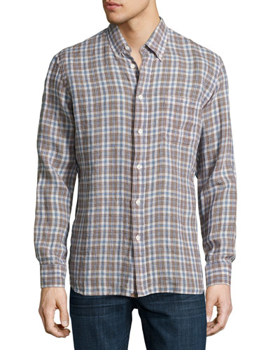 Tuscumbia Plaid Linen Shirt, Blue/Brown