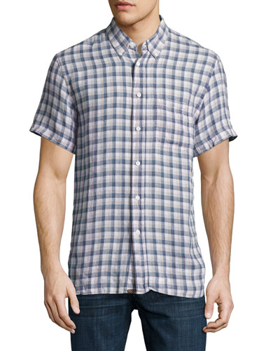 Tuscumbia Plaid Short-Sleeve Sport Shirt, Blue/Natural
