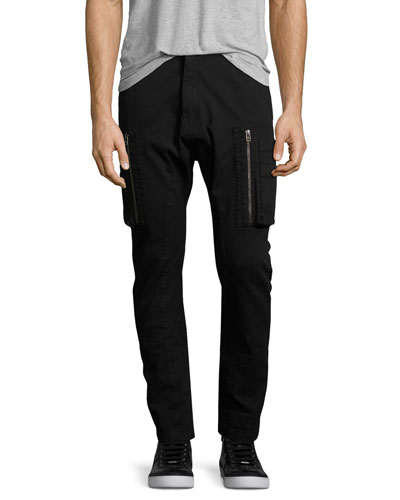 Slim-Fit Utility Cargo Pants, Black