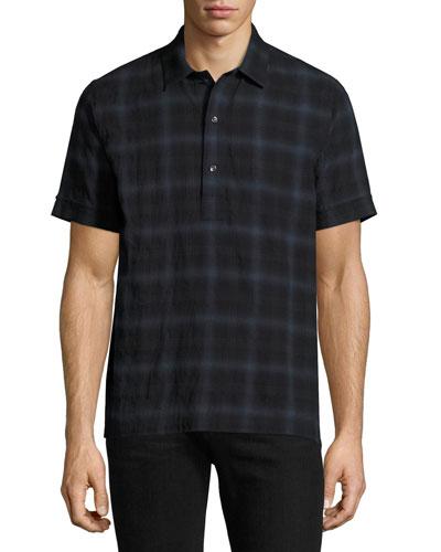 Plaid Short-Sleeve Shirt, Blue
