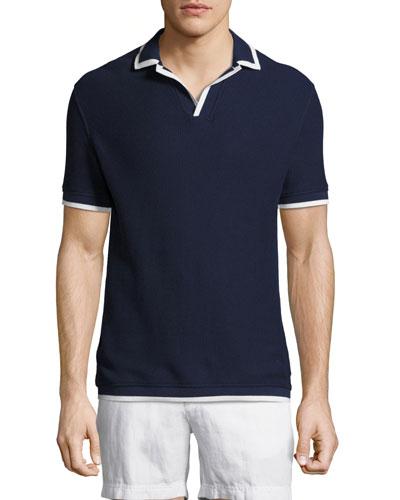 Erick Piqué Polo Shirt with Contrast Tipping, Navy