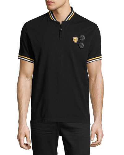 Varsity-Stripe Piqué Polo Shirt with Patches, Black