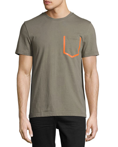 Patch-Pocket Crewneck T-Shirt, Olive
