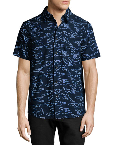 Camo-Embroidered Short-Sleeve Cotton Shirt, Blue