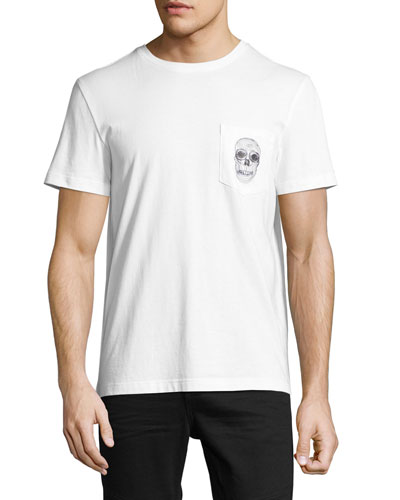 Skull-Print Crewneck Pocket T-Shirt, White/Black