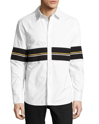 Cotton Oxford Shirt with Striped Ribbed Trim