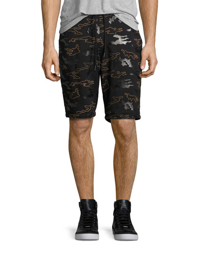 Rubber Camo Micro-Terry Sweat Shorts, Black