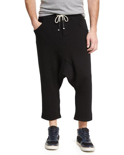 Drop-Inseam Long Drawstring Shorts, Dark Gray