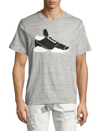 3D 8-Bit Sneaker T-Shirt, Gray