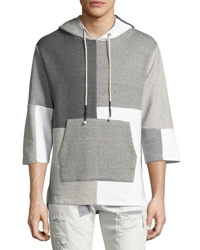 Patchwork 3/4-Sleeve Hooded Sweatshirt, Gray Pattern