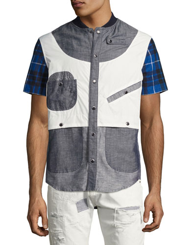 Geometric Patchwork Safari Shirt, Gray/Blue/White