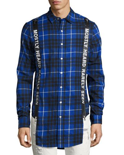 Logo Suspender Plaid Flannel Shirt, Blue