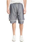 Dissociative Drawstring Shorts, Blue