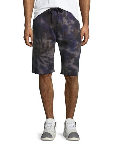 Spiral Tie-Dye Sweat Shorts, Indigo