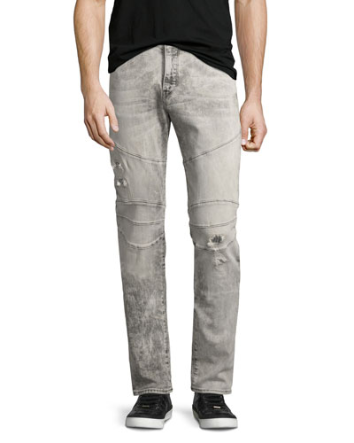 Rocco Distressed Biker Skinny Jeans, Light Rail