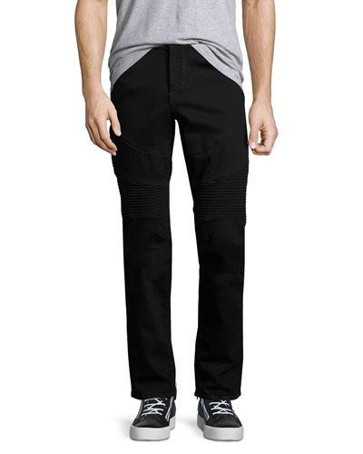 Rocco Skinny Stretch-Denim Moto Jeans, Black