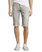 Rocco Distressed Denim Cutoff Shorts, Light Rail
