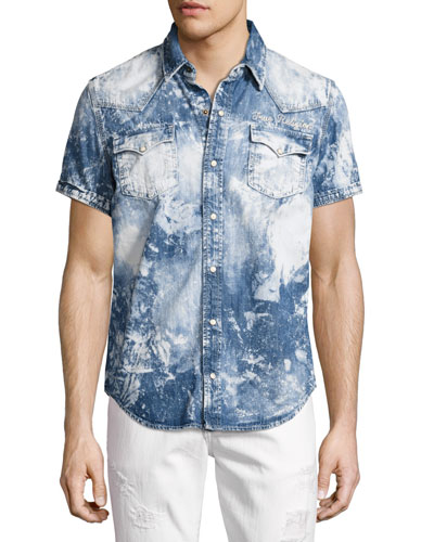 Ryan Bleached Short-Sleeve Denim Western Shirt, Blue