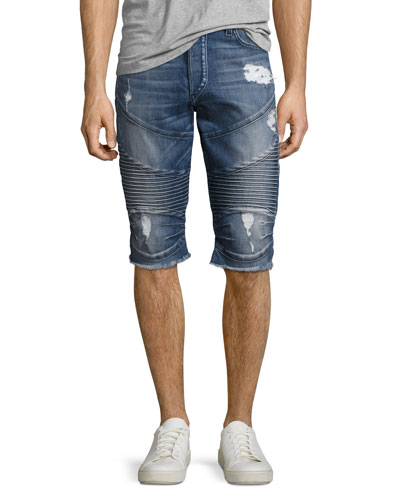Geno Moto Denim Cutoff Shorts, Blue