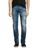 Rocco Distressed Skinny Jeans, Blue