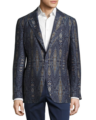 Ikat Single-Button Blazer, Navy