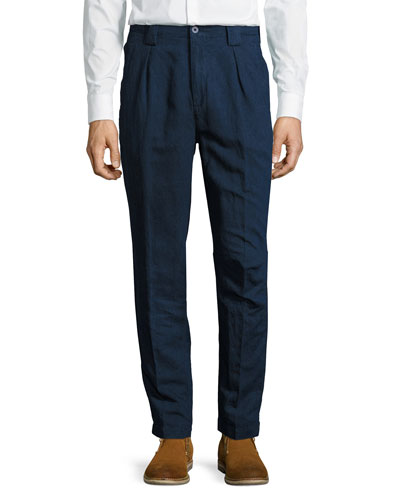 Panama-Fit Dark-Rinse Denim Pants, Blue