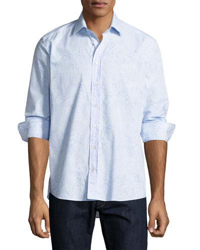 Paisley Floral Sport Shirt, Blue