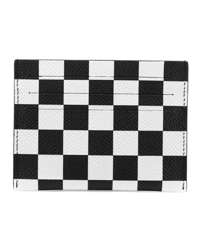Checkered Leather Card Case, Black/White