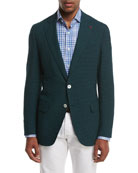 Seersucker Two-Button Sport Coat, Forest Green