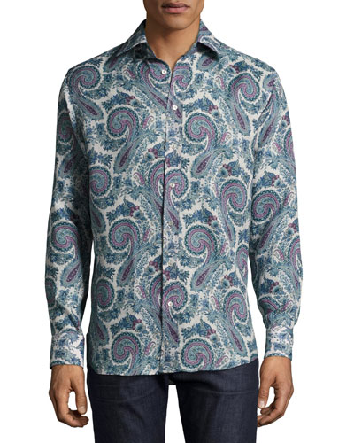 Paisley-Print Button-Down Shirt, Gray