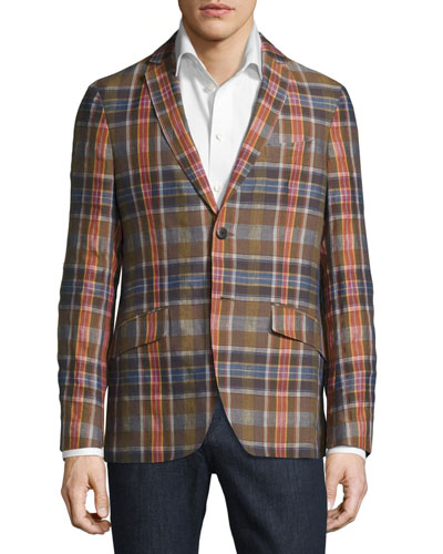Madras Plaid Linen-Cotton Blazer, Beige