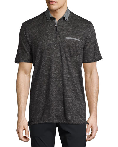 Linen Slub Jersey Polo Shirt, Charcoal