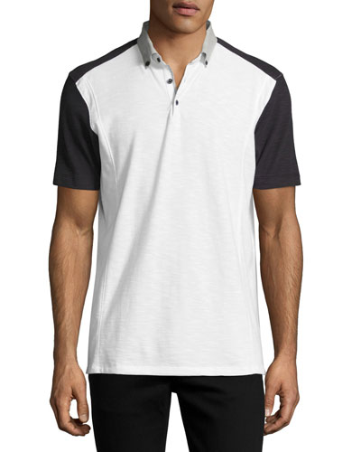 Colorblock Slub Jersey Polo Shirt, White/Black