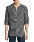 Striped Slub Jersey Henley T-Shirt