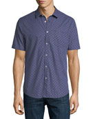 Graph Gingham Short-Sleeve Cotton Shirt